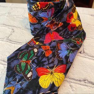 CASCA Multicolor butterfly silk necktie